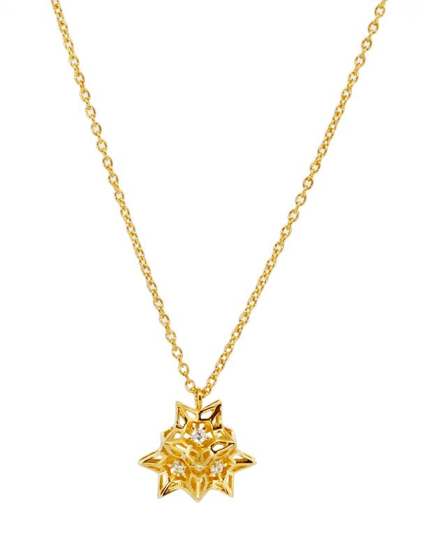 Verahedra series necklace in 18K yellow gold with 3 round white diamonds at 2.2 mm each (0.138 carats).   This piece was designed to evoke personal power.   John Brevard applies his background in architecture and multidisciplinary arts to create