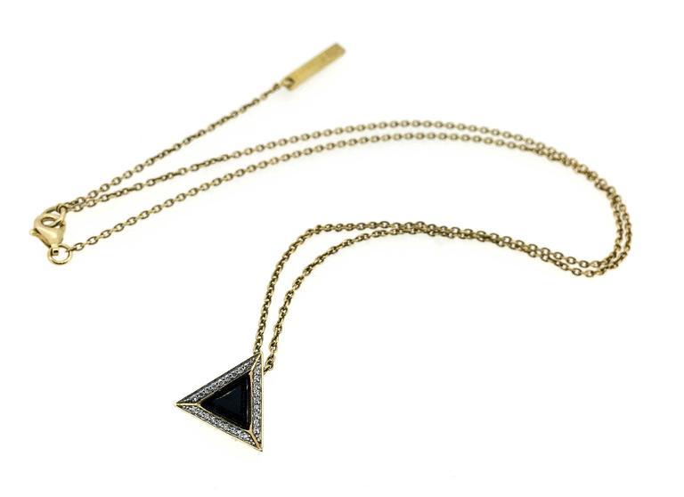 Modern Sapphire Diamond Gold Black Pyramid Necklace For Sale