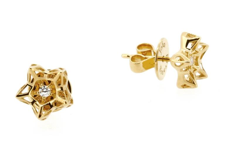 Mini Tria Frame Diamond Gold Stud Earrings 2