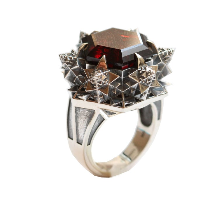 Thoscene Hessonite Garnet Silver Statement Ring In As New Condition For Sale In New York, NY