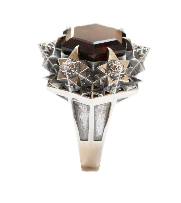 Thoscene Hessonite Garnet Silver Statement Ring 4