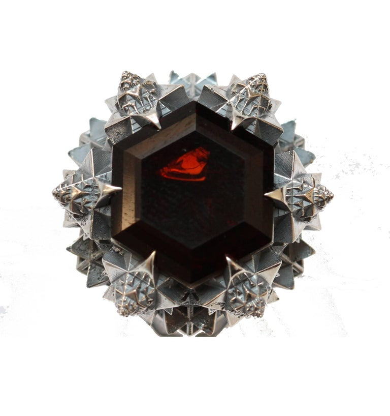 Thoscene Hessonite Garnet Silver Statement Ring 2
