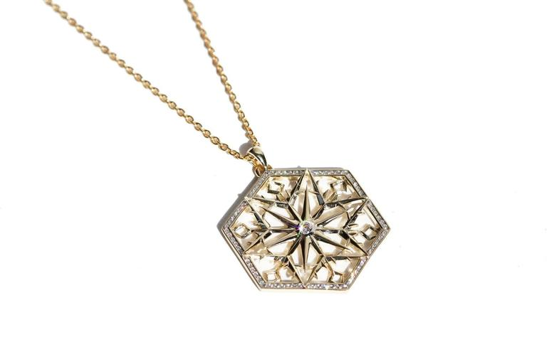 Modern Snow Queen Diamond Gold Necklace For Sale