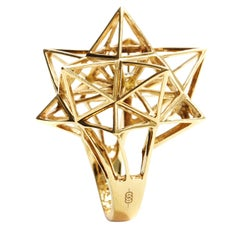 Frame Star Diamond and 18K Gold Ring