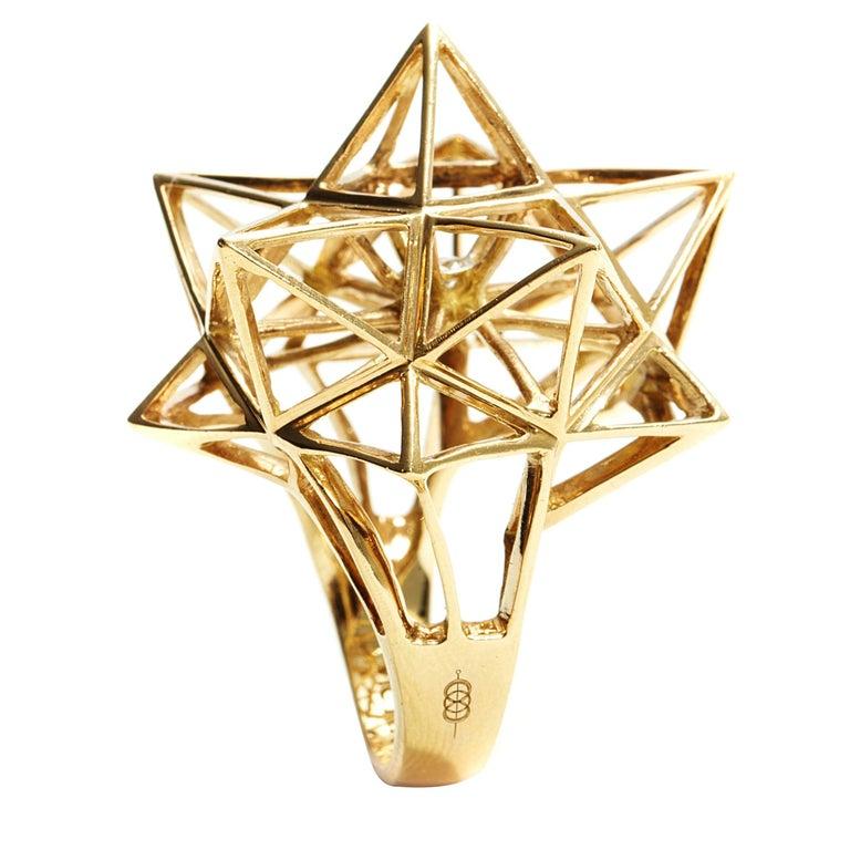 Frame Star Diamond Gold Ring