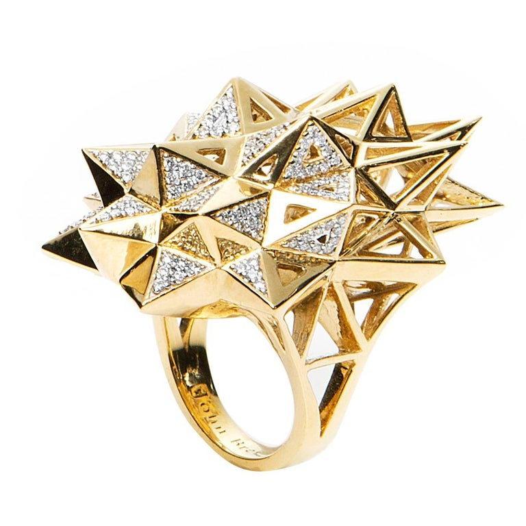 Stellated Star Diamond Gold Ring For Sale