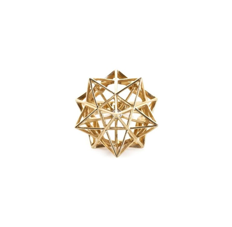 Modern Framework Star Diamond Gold Ring For Sale