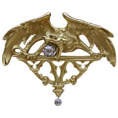 Gothic Chimera Diamond Gold Pendant Brooch