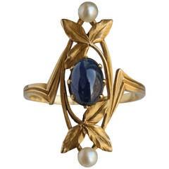 Gaston Lafitte Art Nouveau Gold Sapphire Pearl Ring
