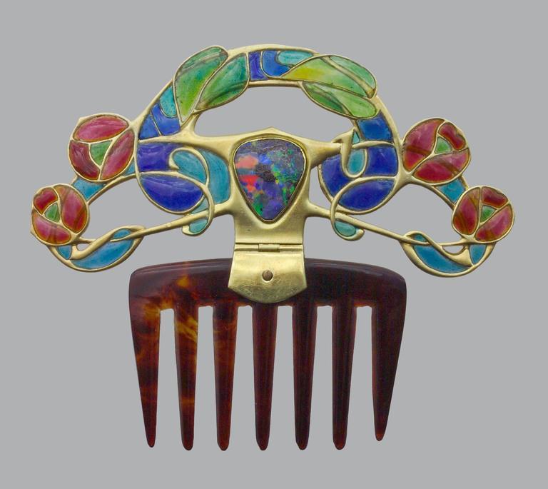 Archibald Knox Art Nouveau Opal Enamel Gold Diadem Comb for Liberty & Co. For Sale 2