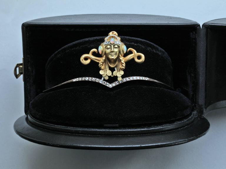 Art Nouveau Opal Diamond Gold Byzantine Princess Diadem Tiara For Sale 4