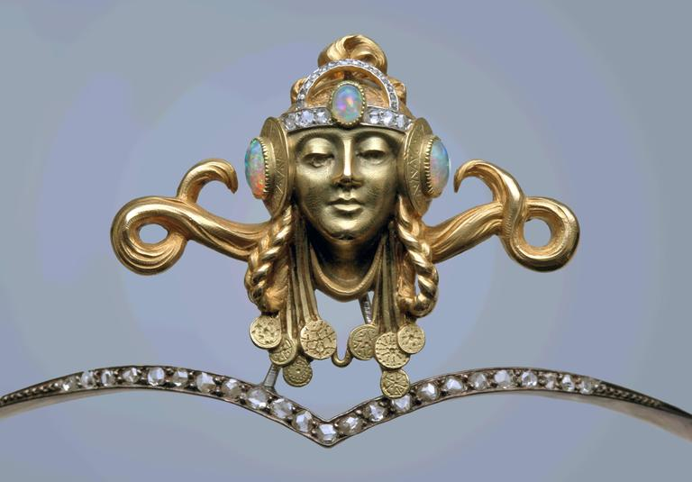 Women's Art Nouveau Opal Diamond Gold Byzantine Princess Diadem Tiara For Sale