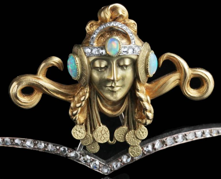 Art Nouveau Opal Diamond Gold Byzantine Princess Diadem Tiara For Sale 3