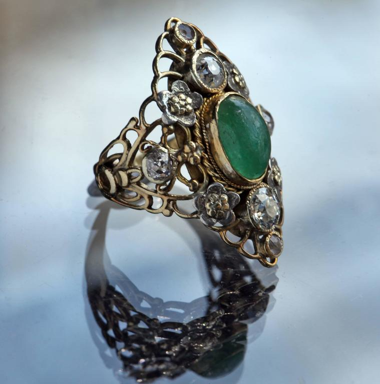 Arthur & Georgie Gaskin Superb Emerald Diamond Arts and Crafts Ring In Good Condition For Sale In London, GB