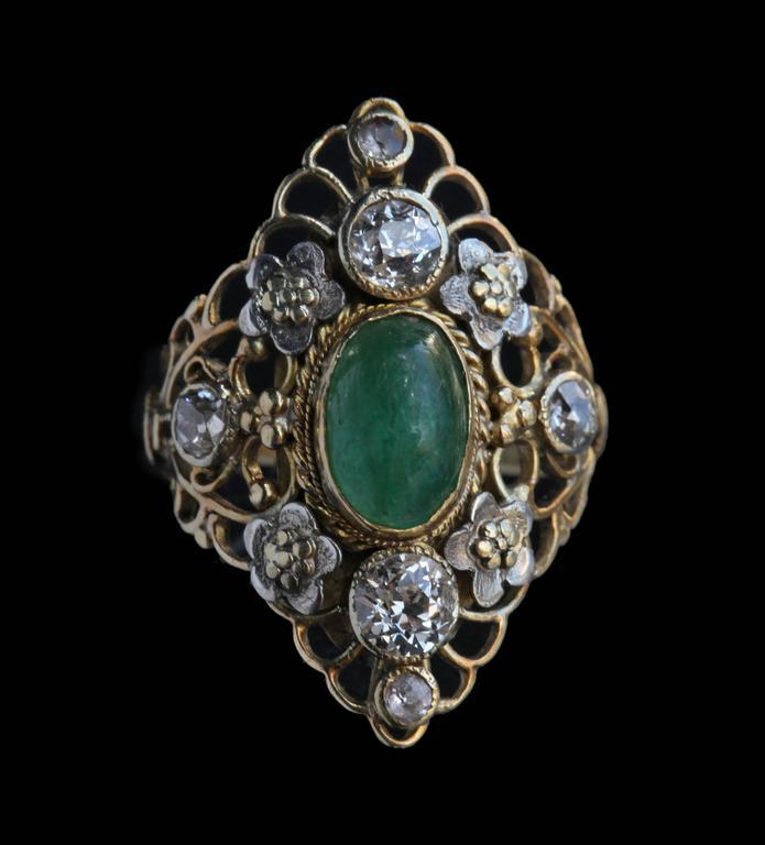 Women's Arthur & Georgie Gaskin Superb Emerald Diamond Arts and Crafts Ring For Sale