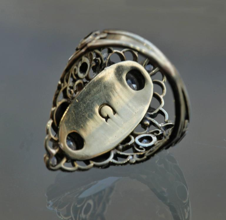 Arthur & Georgie Gaskin Superb Emerald Diamond Arts and Crafts Ring For Sale 1