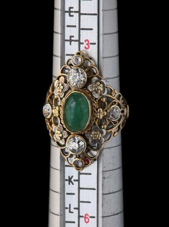 Arthur & Georgie Gaskin Superb Emerald Diamond Arts and Crafts Ring For Sale 2