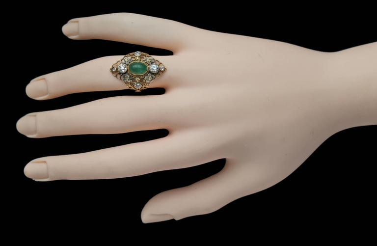 Arthur & Georgie Gaskin Superb Emerald Diamond Arts and Crafts Ring For Sale 3