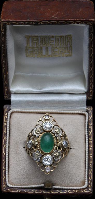 Arthur & Georgie Gaskin Superb Emerald Diamond Arts and Crafts Ring For Sale 4