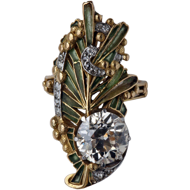 Magnificent Art Nouveau Plique-a-Jour Diamond Gold Ring