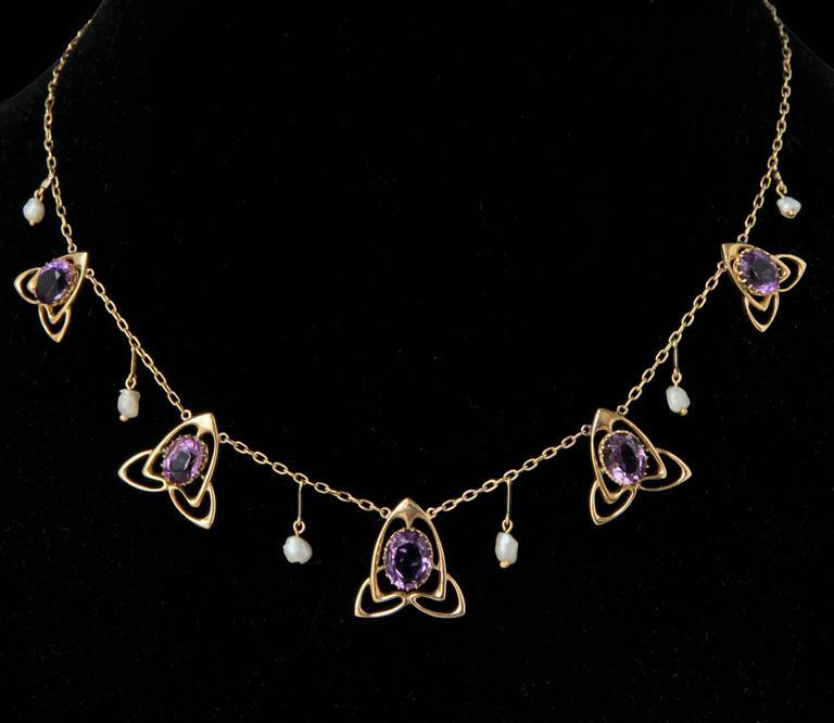 Art Nouveau Archibald Knox Liberty & Co Amethyst Gold Necklace For Sale
