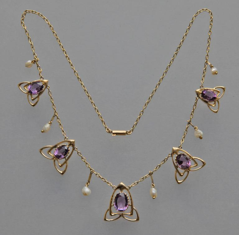 Women's Archibald Knox Liberty & Co Amethyst Gold Necklace For Sale