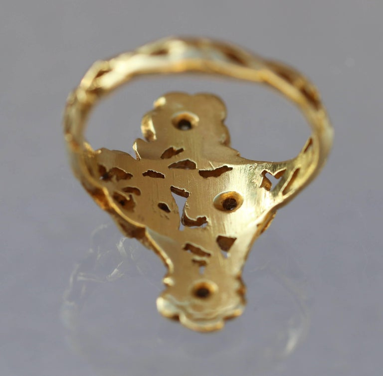 Art Nouveau Wild Rose Ring in Gold and Diamond Attributed to Georges Le Turcq 7