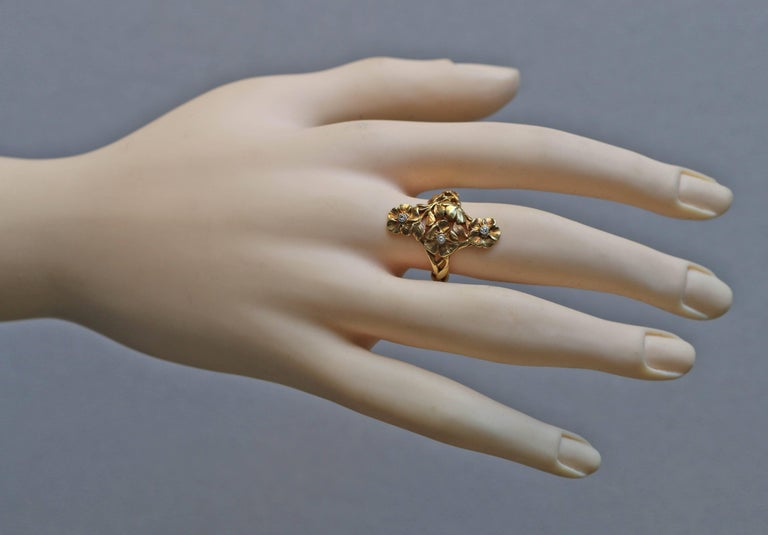 Old European Cut Art Nouveau Wild Rose Ring in Gold and Diamond Attributed to Georges Le Turcq For Sale
