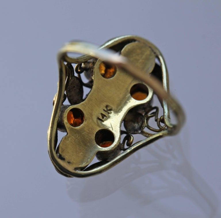 Arts and Crafts American Arts & Crafts Gold Carnelian and Citrine Ring For Sale
