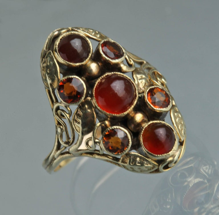 American Arts & Crafts Gold Carnelian and Citrine Ring For Sale 1