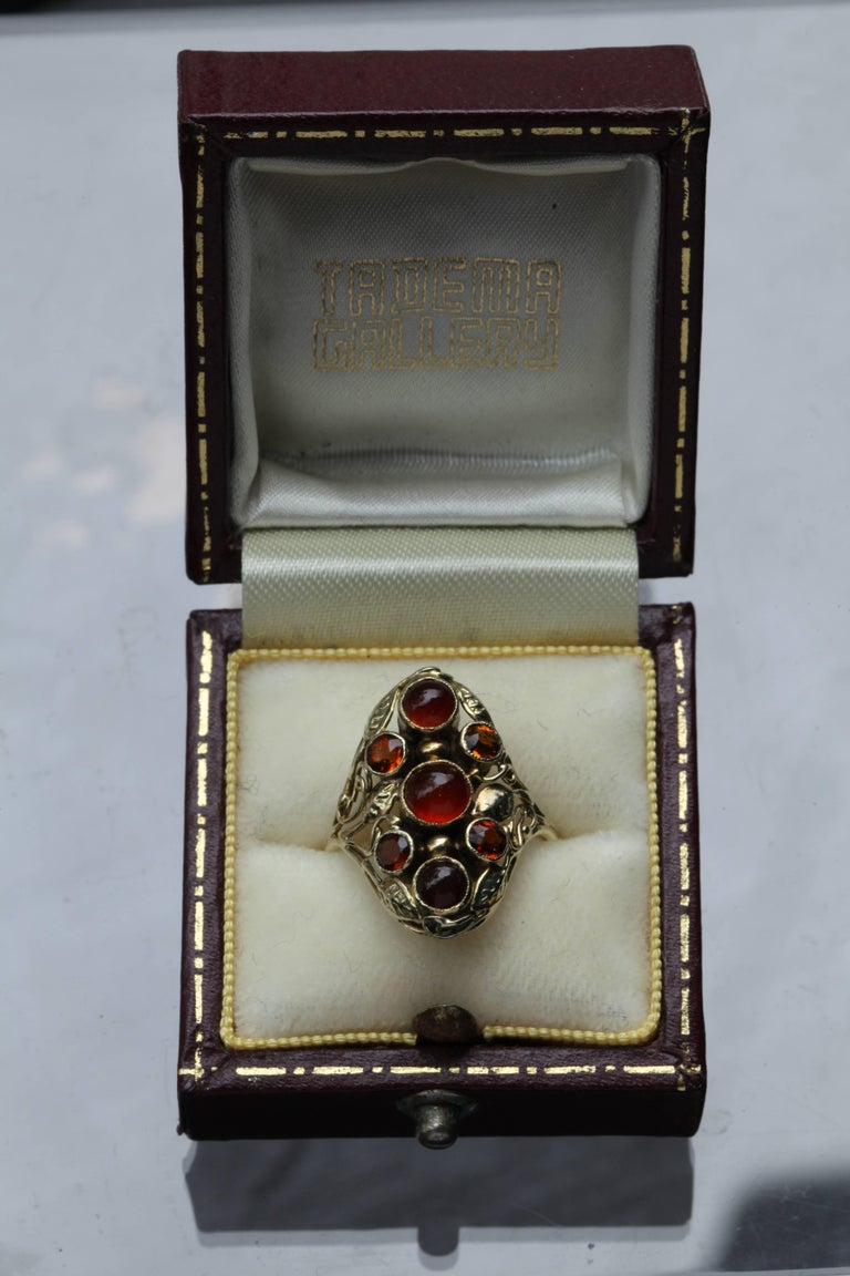 American Arts & Crafts Gold Carnelian and Citrine Ring For Sale 2