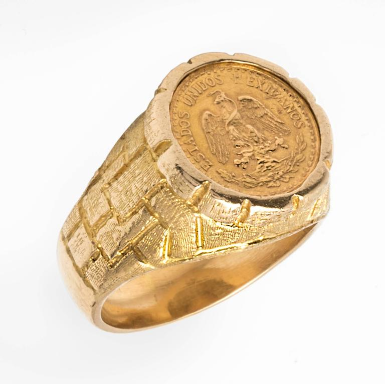 mexican 22 karat gold peso coin ring for sale at 1stdibs