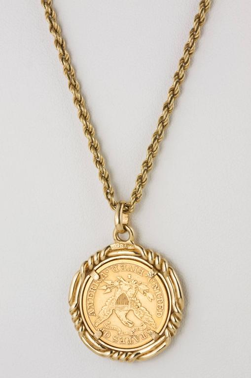 1892 gold coin pendant at 1stdibs c 1892 united states 22k us 5 gold coin 14 oz cased aloadofball Image collections
