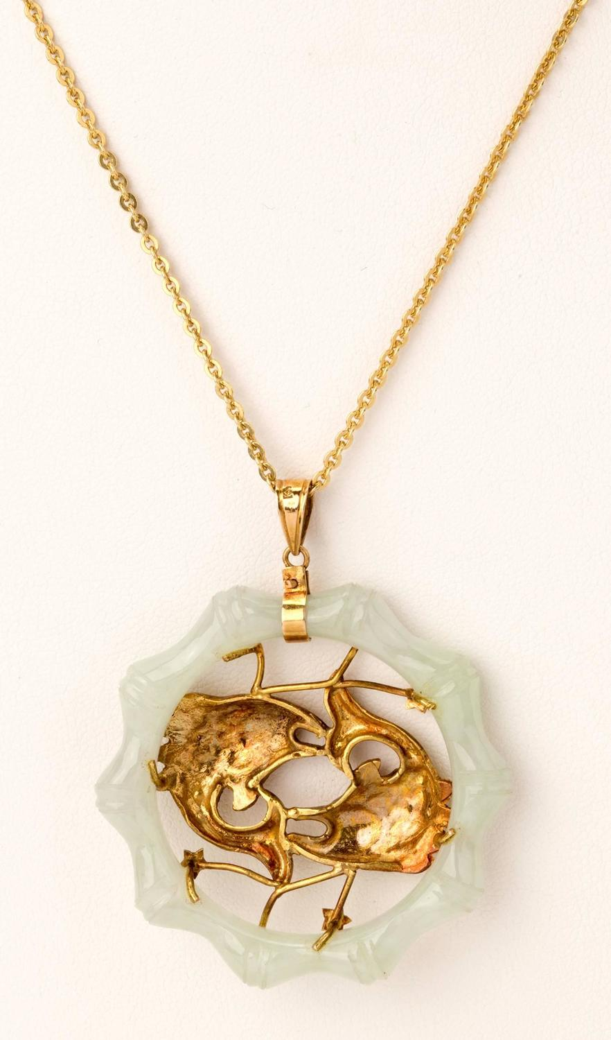 White jade gold double fish pendant necklace at 1stdibs for Gold fish pendant