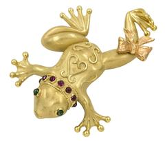 Gold Frog with Tourmalines Brooch