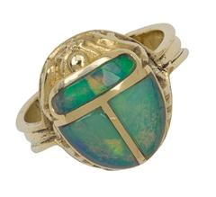 David Tallman Opal Gold Scarab Ring