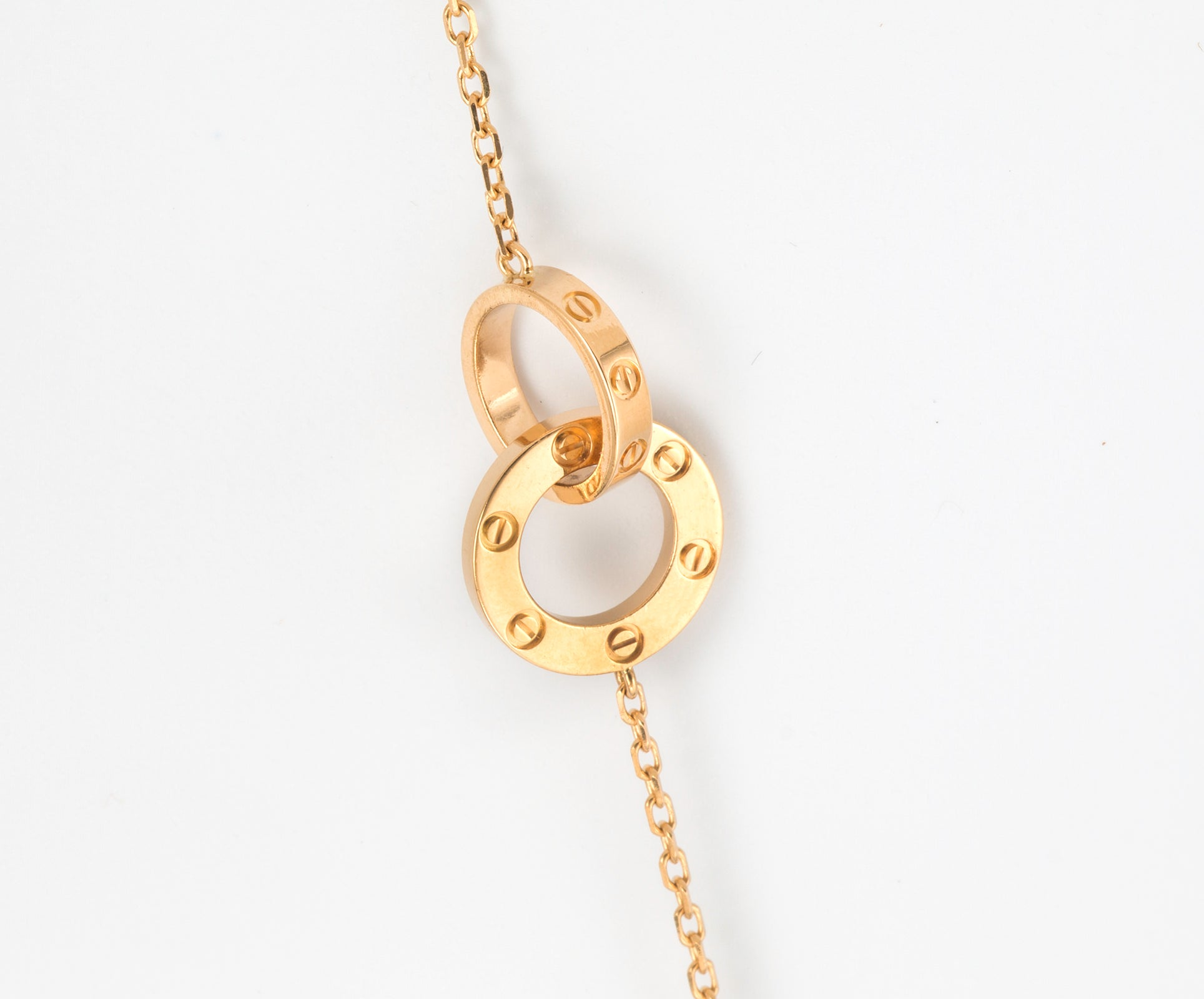 Cartier love rings gold chain link necklace for sale at 1stdibs aloadofball Choice Image