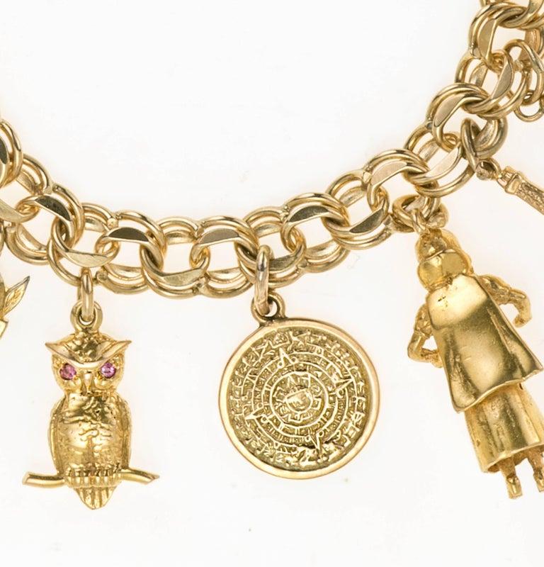 Vintage 14 Karat Yellow Gold 15 Charms Charm Bracelet At