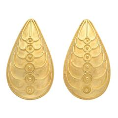 Pear-Shaped Gold Scarab Earclips