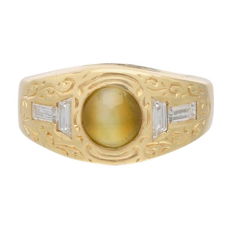 Cat's Eye Chrysoberyl Diamond Gold Gypsy Ring