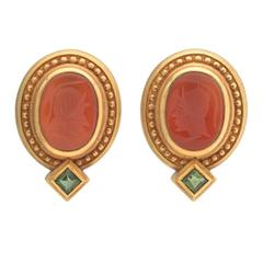 Carnelian Intaglio and Green Tourmaline Earclips