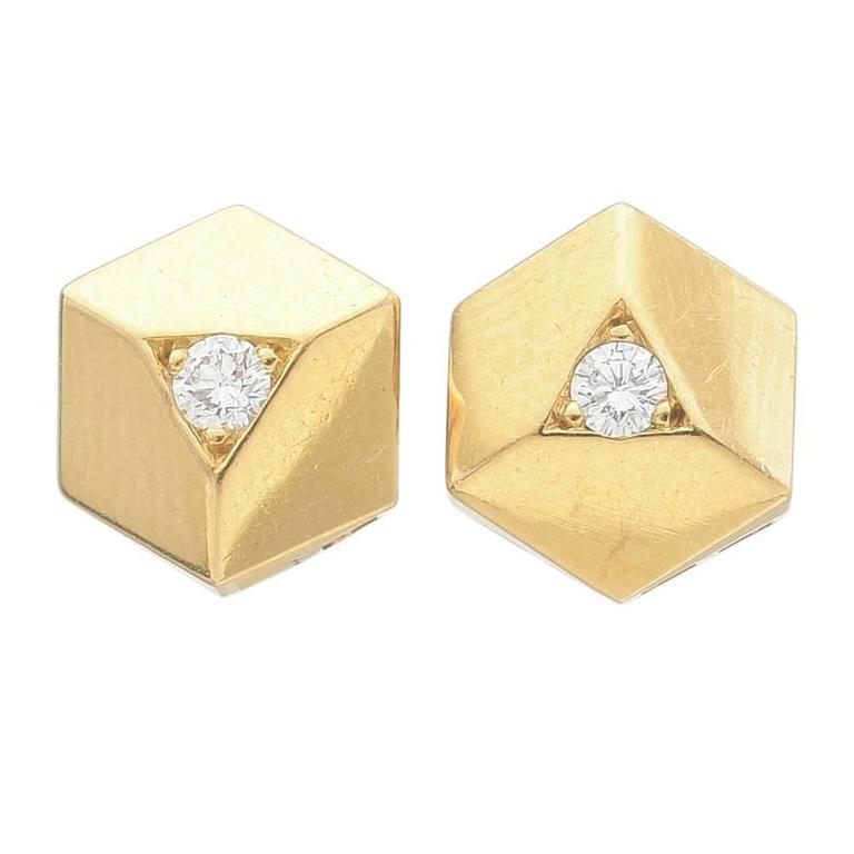 "Paolo Costagli ""Brillante"" Diamond Gold Stud Earrings 1"