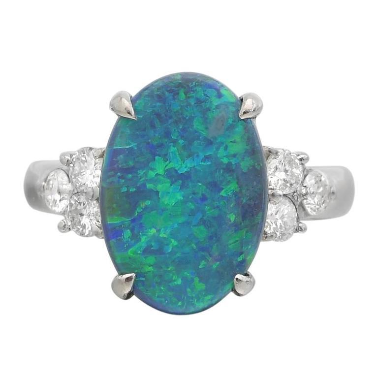 Opal Diamond Platinum Cluster Ring