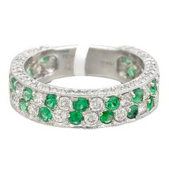 Emerald Diamond Platinum Two Row Band Ring