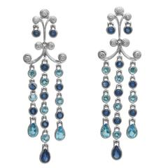 Sapphire Blue Topaz Diamond Gold Chandelier Earrings