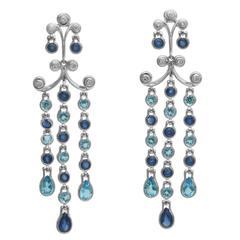 Sapphire Blue Topaz Diamond Gold Chandelier Earrings
