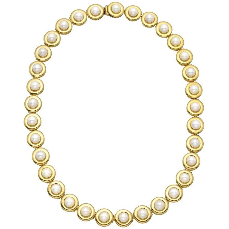 Pearl Gold Link Necklace For Sale