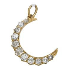 Old Mine Cut Diamond Gold Crescent Pendant
