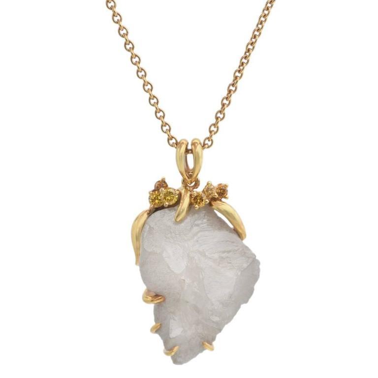 Rough Diamond and Yellow Diamond Gold Pendant Necklace