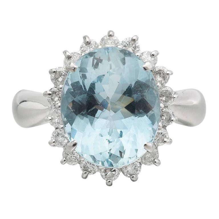 Aquamarine Diamond Platinum Cluster Ring